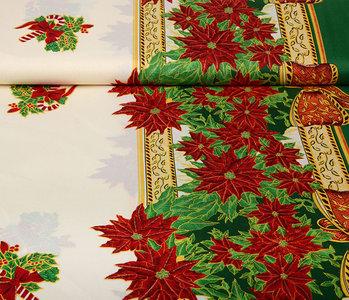 Christmas Fabric Poinsettia Green