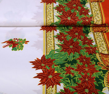Christmas Fabric Poinsettia Red
