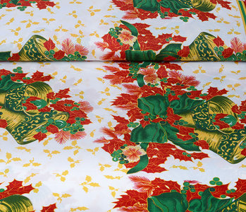 Christmas Fabric Christmas Bell with Holly Red