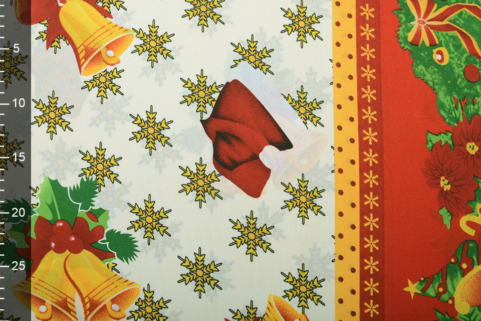 Kerststof Sneeuwvlokjes Rood