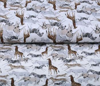 100% Digital Cotton African Animals