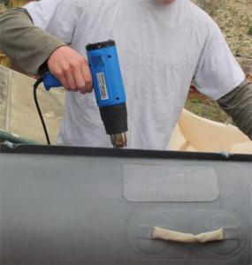 heteluchtpistool om plakker te verwijderen