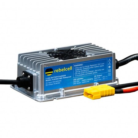 Rebelcell Rebelcell  Acculader 16.8V20A Li-ion (IP65) waterdicht met stekkeruitgang