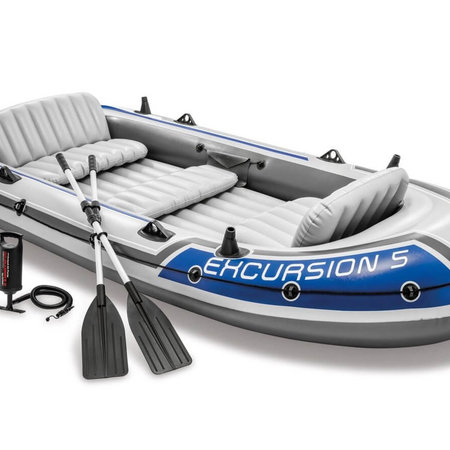 Intex Excursion 5 opblaasboot met fluistermotor set