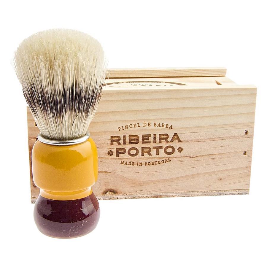 Antiga Barbearia de Bairro Scheerkwast in origineel houten kistje-1