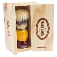 thumb-Antiga Barbearia de Bairro Scheerkwast in origineel houten kistje-2