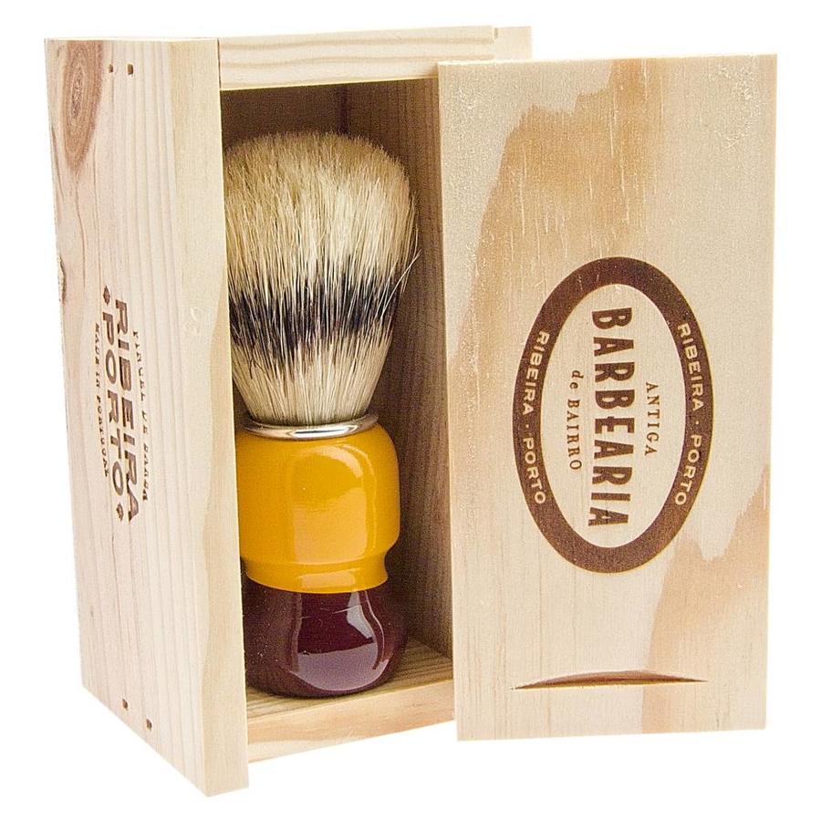 Antiga Barbearia de Bairro Scheerkwast in origineel houten kistje-2