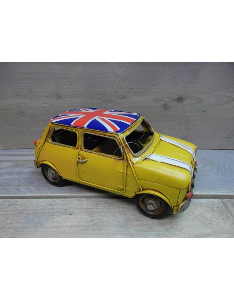 W.F. Peters Auto mini geel 23x11x10,5 cm