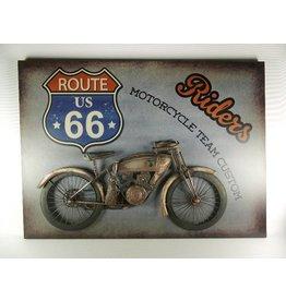 W.F. Peters Wanddecoratie metaal motor Riders 3D 80 x 58 cm
