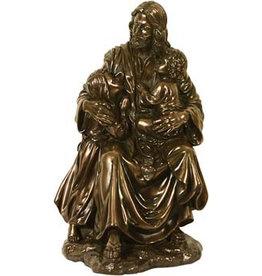 W.F. Peters Jezus met twee kinderen bronskl hg 20 cm
