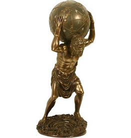 W.F. Peters Atlas met wereldbol bronskl.hg 29 cm