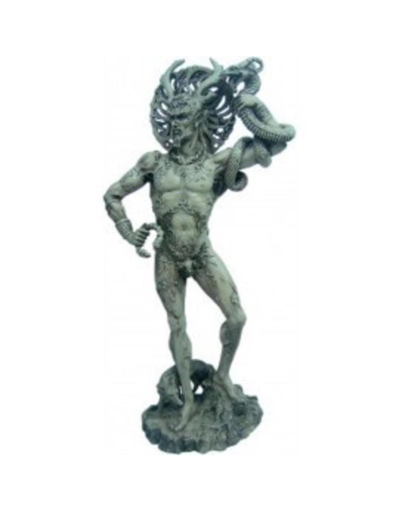"""W.F. Peters Cernunnos met slang """"de gehoornde""""Keltische god antiek wit hg ca 26 cm"""