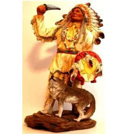W.F. Peters Indianen opperhoofd met wolf hg ca 30 cm