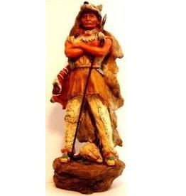 W.F. Peters Indiaan met speer en wolvenhuis hg ca 36 cm