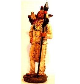 W.F. Peters Indiaan met speer en adelaar hg ca 31 cm