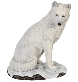 W.F. Peters Witte Wolf zittend hg 19 cm