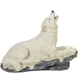 W.F. Peters Witte Wolf liggend hg 15 cm lg 20 cm