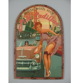 W.F. Peters Wanddeco ijzer Pink Cadillac 50x32 cm