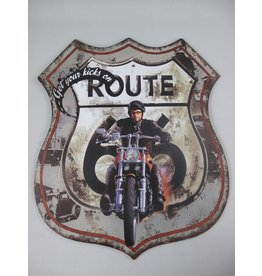 W.F. Peters Wanddeco ijzer Route 66 75x65 cm