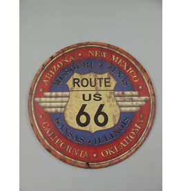W.F. Peters Wanddeco ijzer Route 66 diamtr 60 cm