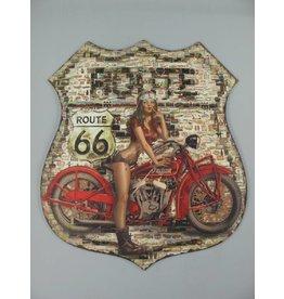 W.F. Peters Wanddeco ijzer Route 66 80x68 cm