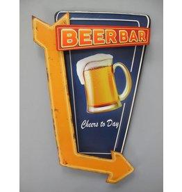 W.F. Peters Wanddeco ijzer gestanst Beer bar 45x30 cm
