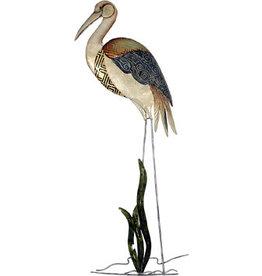 W.F. Peters Kraanvogel wand decofiguur metaal hg 89 cm br 38 cm