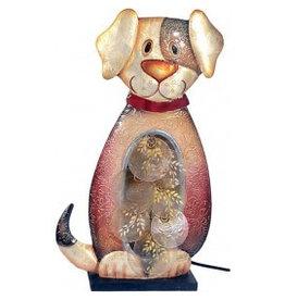 W.F. Peters Hond lamp decofiguur metaal hg ca 41 cm br ca 23 cm