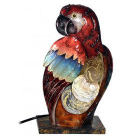 W.F. Peters Papagaai lamp decofiguur metaal hg ca 30 cm br ca 18 cm