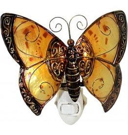 W.F. Peters Vlinder nachtlampje decofiguur metaal hg ca 12 cm br ca 14,5 cm