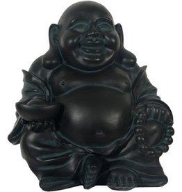 W.F. Peters Happy Buddha zittend zwart/groen