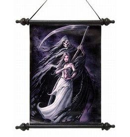 """W.F. Peters Elf met grim reaper wanddoek met houten einden """"Summon the reaper""""by Ann Stokes afm 41x51 cm"""
