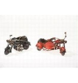 W.F. Peters Motors met zijspan zwart rood 12 x 9 x 6 cm per set van 2 stuks