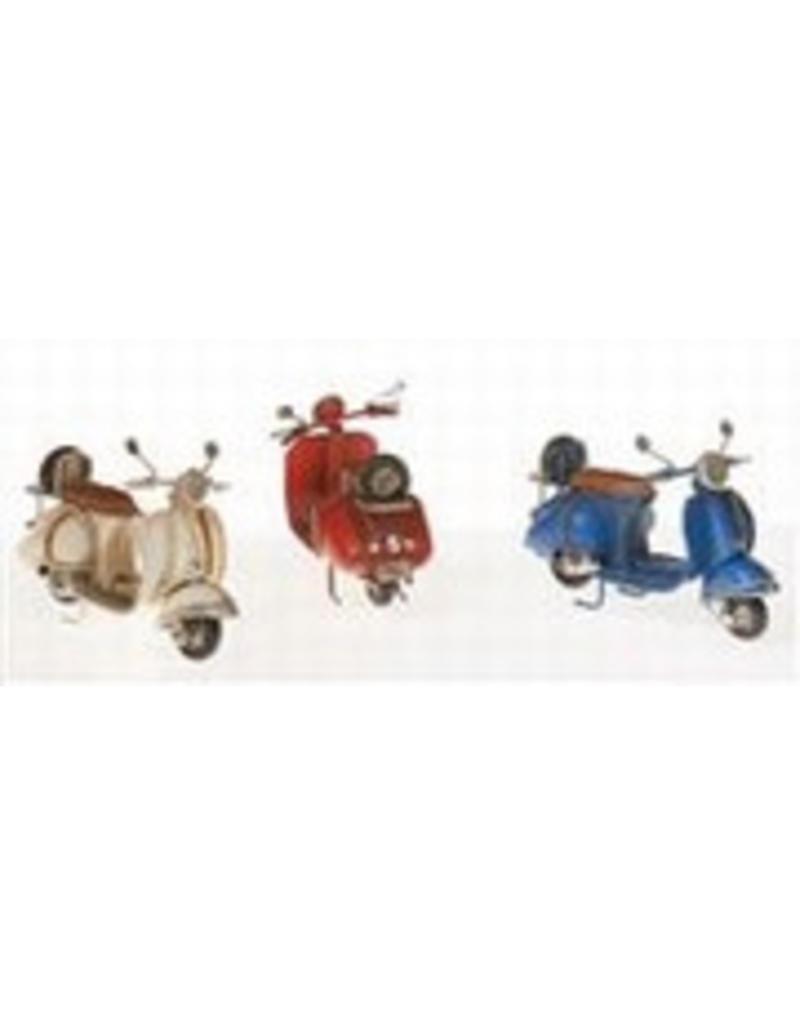 W.F. Peters Scooters crême-rood-blauw 11 x 5 x 7 cm per set van 3