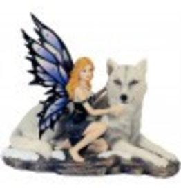 W.F. Peters Elf met wolf ligg. hg 18- br 23 cm