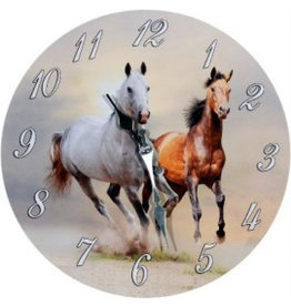 W.F. Peters Klok twee galopperende paarden