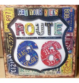 W.F. Peters Tin Sign ''Route 66'' vierkant