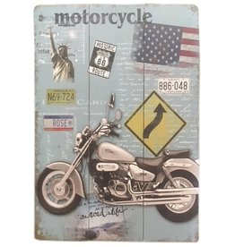 W.F. Peters Mooi stoer houten bord ''Motorcycle  Amerika''