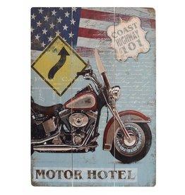 W.F. Peters Mooi stoer houten bord ''Motor Hotel''