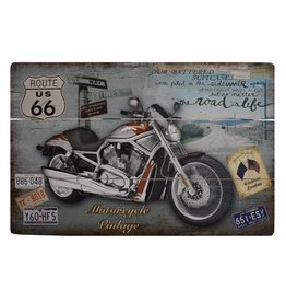W.F. Peters Mooi stoer houten bord ''Motorcycle Vintage''