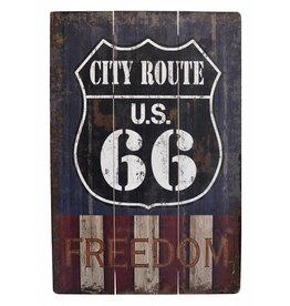 W.F. Peters Mooi stoer houten bord ''Route 66 freedom''
