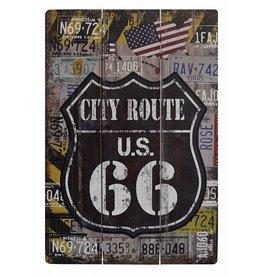 W.F. Peters Mooi stoer houten bord ''City route 66'' klein