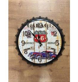 W.F. Peters Beer cap klok ''Route 66 Service repair''