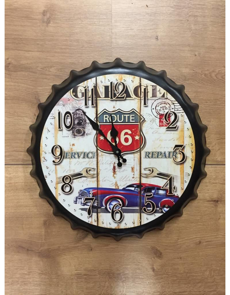 W.F. Peters Beer cap klok'' Route 66 Service repair''