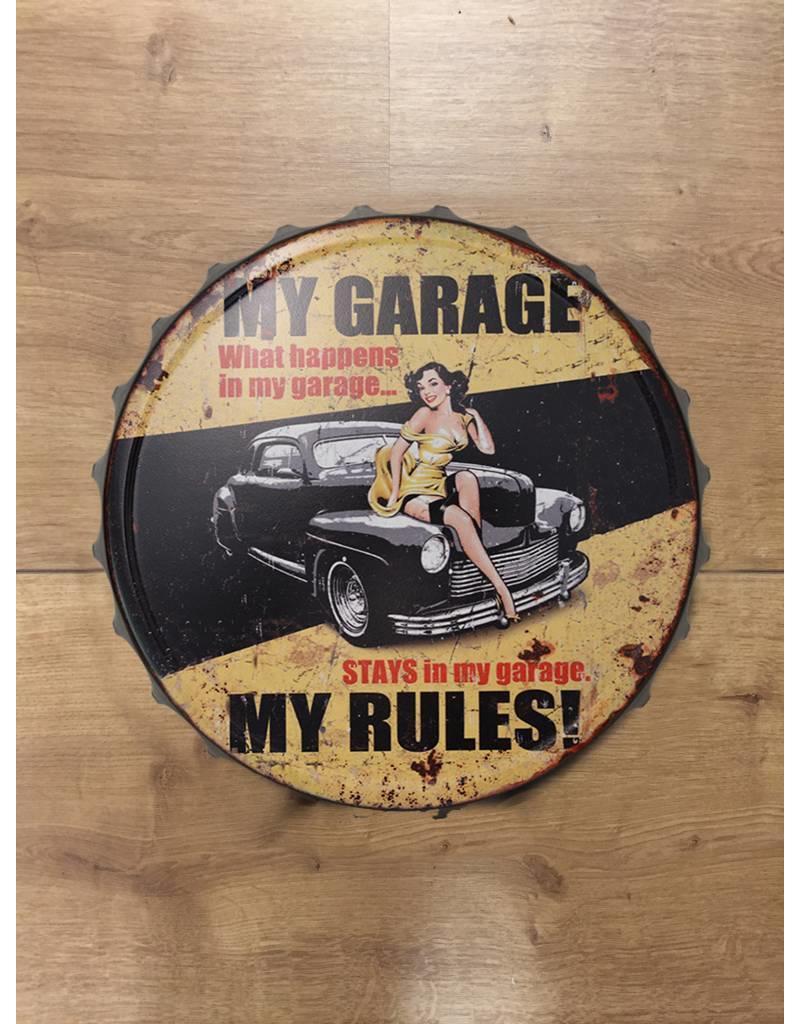 W.F. Peters Beer cap My garage rules