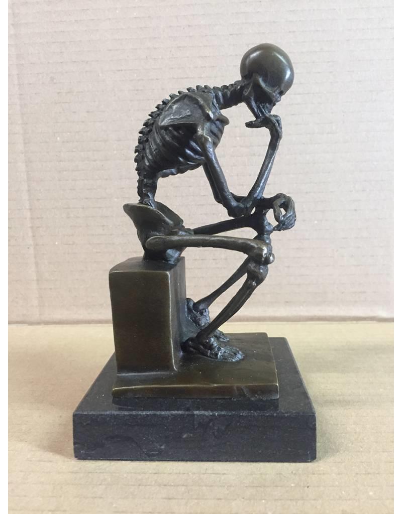 W.F. Peters Bronzen beeld ''Rodin de Denker Skelet''
