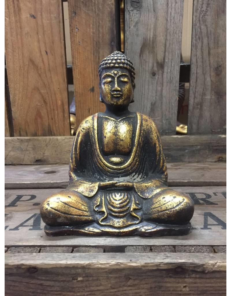 W.F. Peters Buddha lotus houding (goud antiek glad)