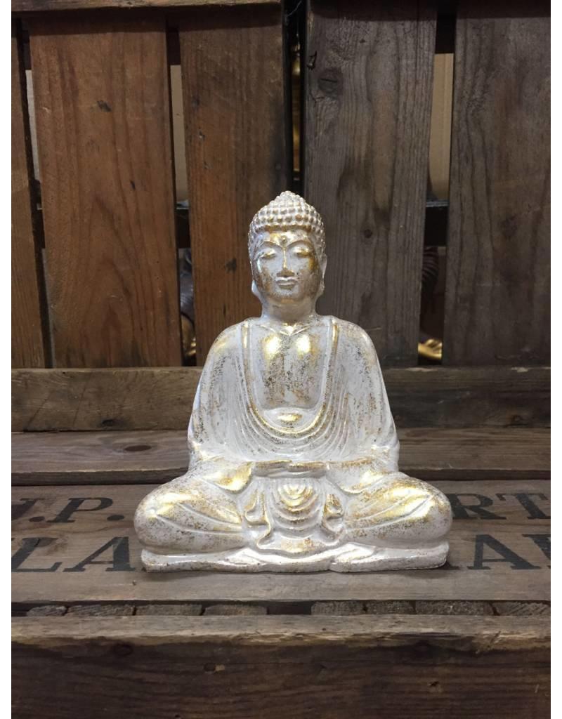 W.F. Peters Buddha lotus houding (wit-goud)