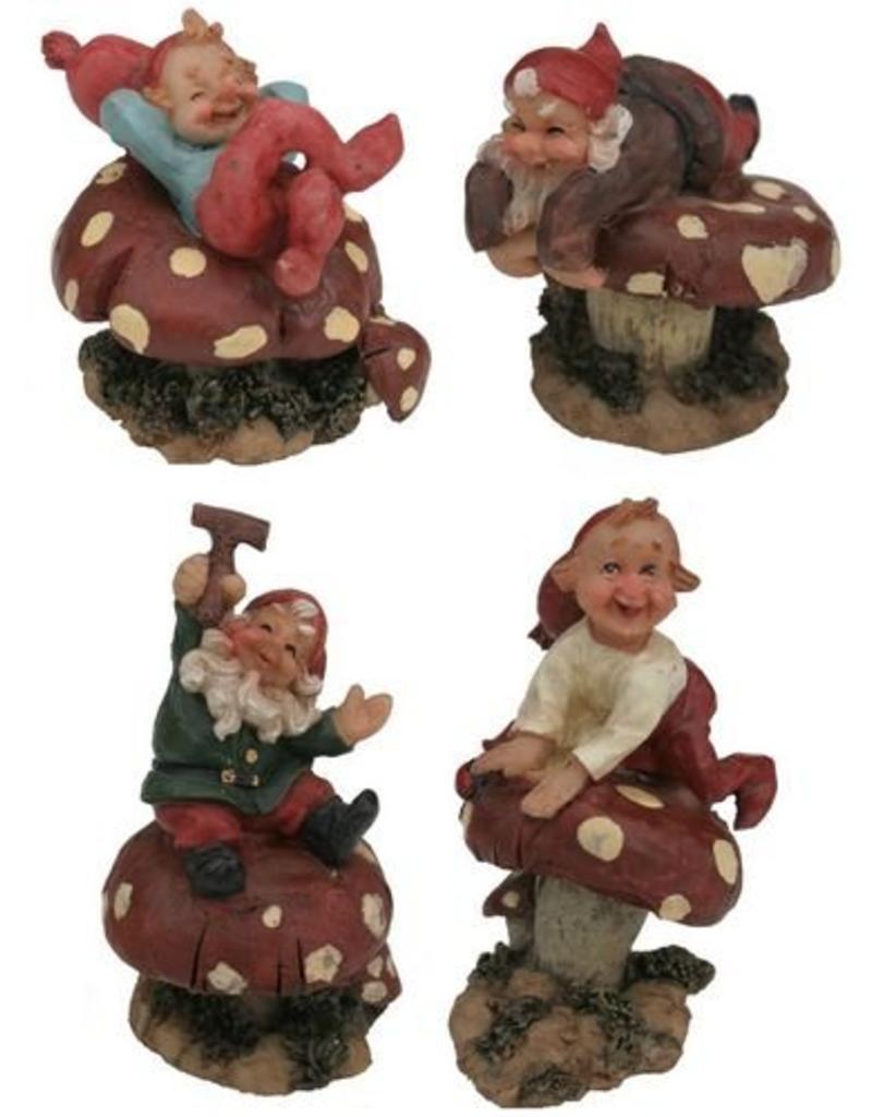 H.Originals Kabouter op paddenstoel 6 X 4 CM 4 assortiment