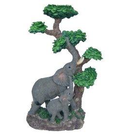 H.Originals Twee olifanten bij boom met waxine 25 X  CM 1 assortiment